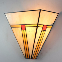 tiffany style mission wall lamp stained glass art deco light