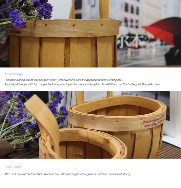 Handmade Basket Companies : Hongdao hot sale handmade wooden flower basket for