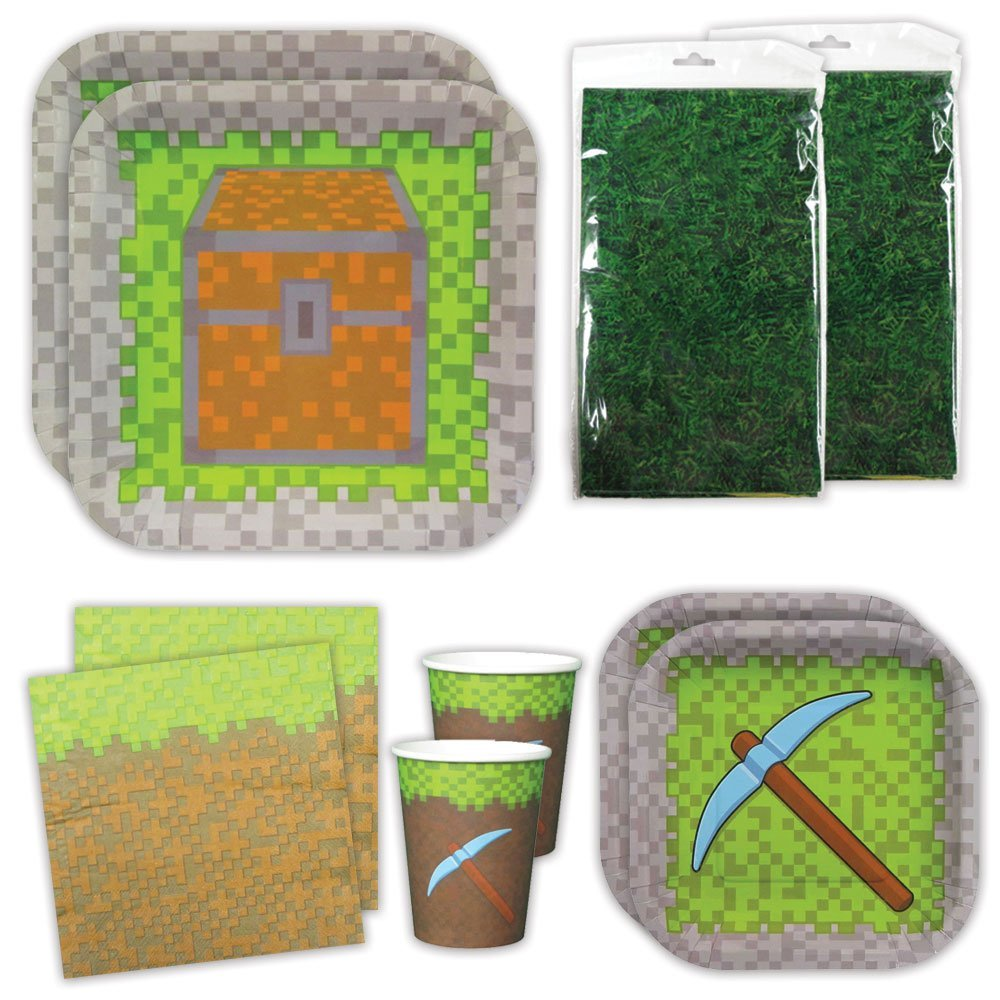 Blue Orchards Mining Fun Deluxe Party Packs (70 Pieces 16 Guests!), Minecraft Inspired Birthday Party Supplies, Pixel Party