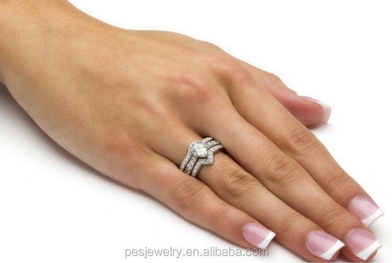 3 Piece Pear Cut AAA CZ Wedding Ring Set (PES6 133)
