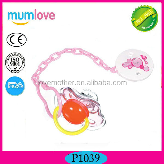 BPA free Thumb silicon Pacifier with chain with funny toys food grade