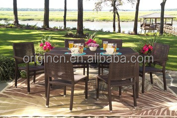 All-weather outdoor synthetic rattan woven dining table and chair wicker unique restaurant furniture