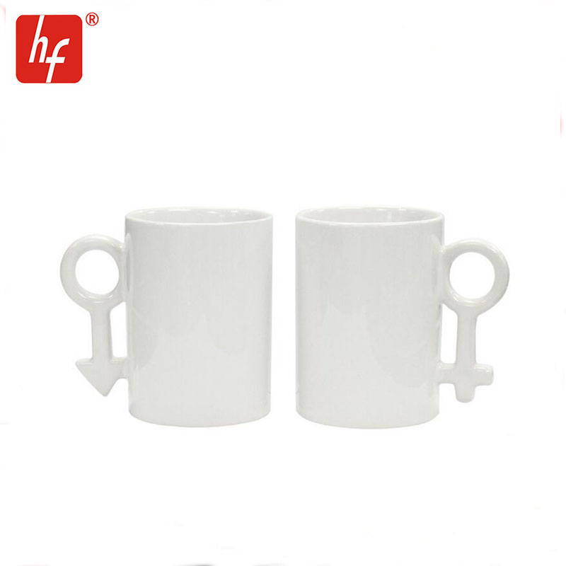 sublimation couples cup,heat press ceramic cup,couples handle mug