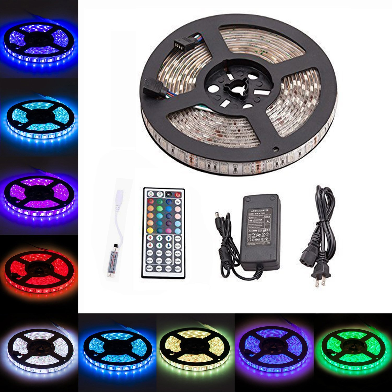 LTROP Led Strip Lights Kit - Waterproof SMD 5050 16.4 Ft (5M) 300leds RGB 60leds/m with Mini 44key IR Remote Controller and 12V 5A Power Supply for Kicthen Bedroom Sitting Room and Outdoor