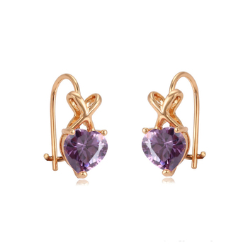 95031 xuping popular beautiful kid earring with heart shape stone