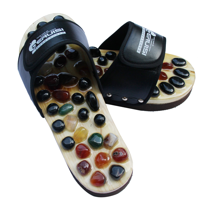 free shipping massage Natural cobblestone agate stone massage slippers foot care at home acupoint seniority acupuncture massage