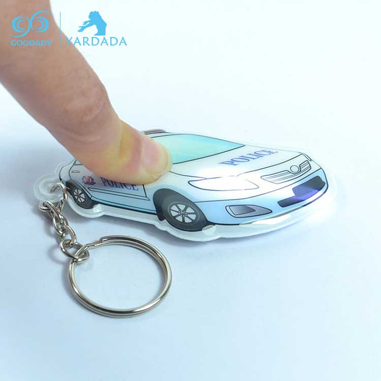 Guangdong custom mini led flashlight car key holder/plastic PVC LED personalized light keychain