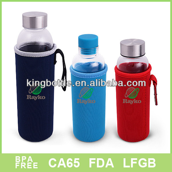 250ML/380ML/500ML Single wall glass bottle with cloth sleeve