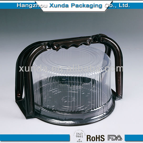 Disposable plastic cake container