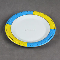 "White decal round 9 3/16"" melamine dinner plate"