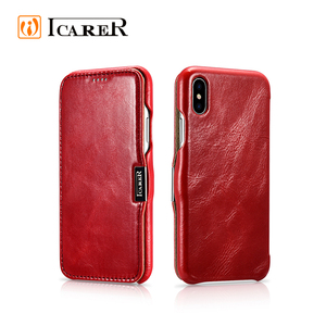 Top Quality Red Premium Leather Magnet Protector Protection Back Cover Phone Case for iPhone X/XS
