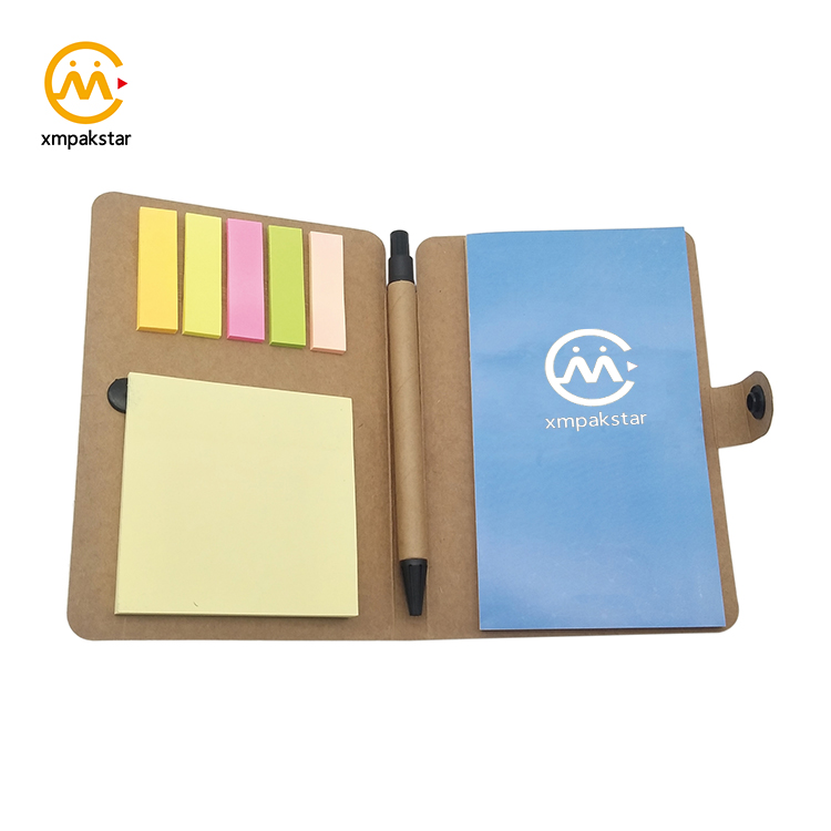 Aangepaste knop sluiting mini notebook pocket notitieblok met pen en sticky note
