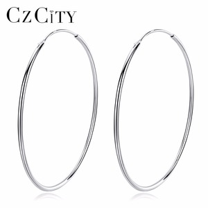CZCITY Wholesale Cheap Big Circle Hoop Clip Earring with High-quality 925 Sterling Silver Earring For Women Fashion Daily-life