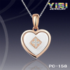 Ceramic thick and short Bead inlay Pendant with CZ