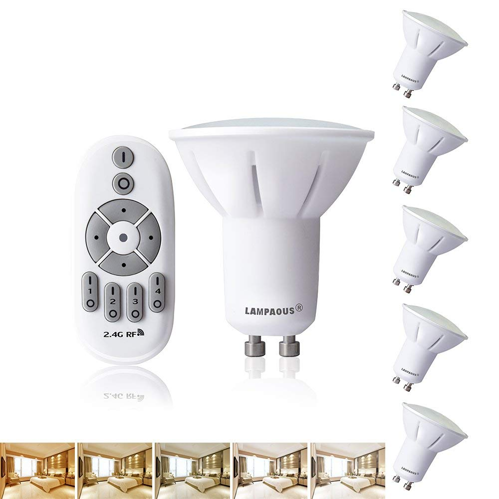 Get Quotations Lampaous Remote Control Led Light Bulbs Dimmable 5w Gu10 Color Changing Temperature Adjule Spotlight 50 Watt