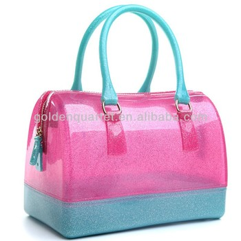 Silicone Transparent Jelly Bags Of Candy Color Edition Fashion Hand The Bill Lading Tote