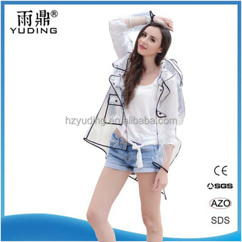 Custom Women fashion Transparent Plastic EVA rain jacket wholesale hooded 100% waterproof adult rain coat