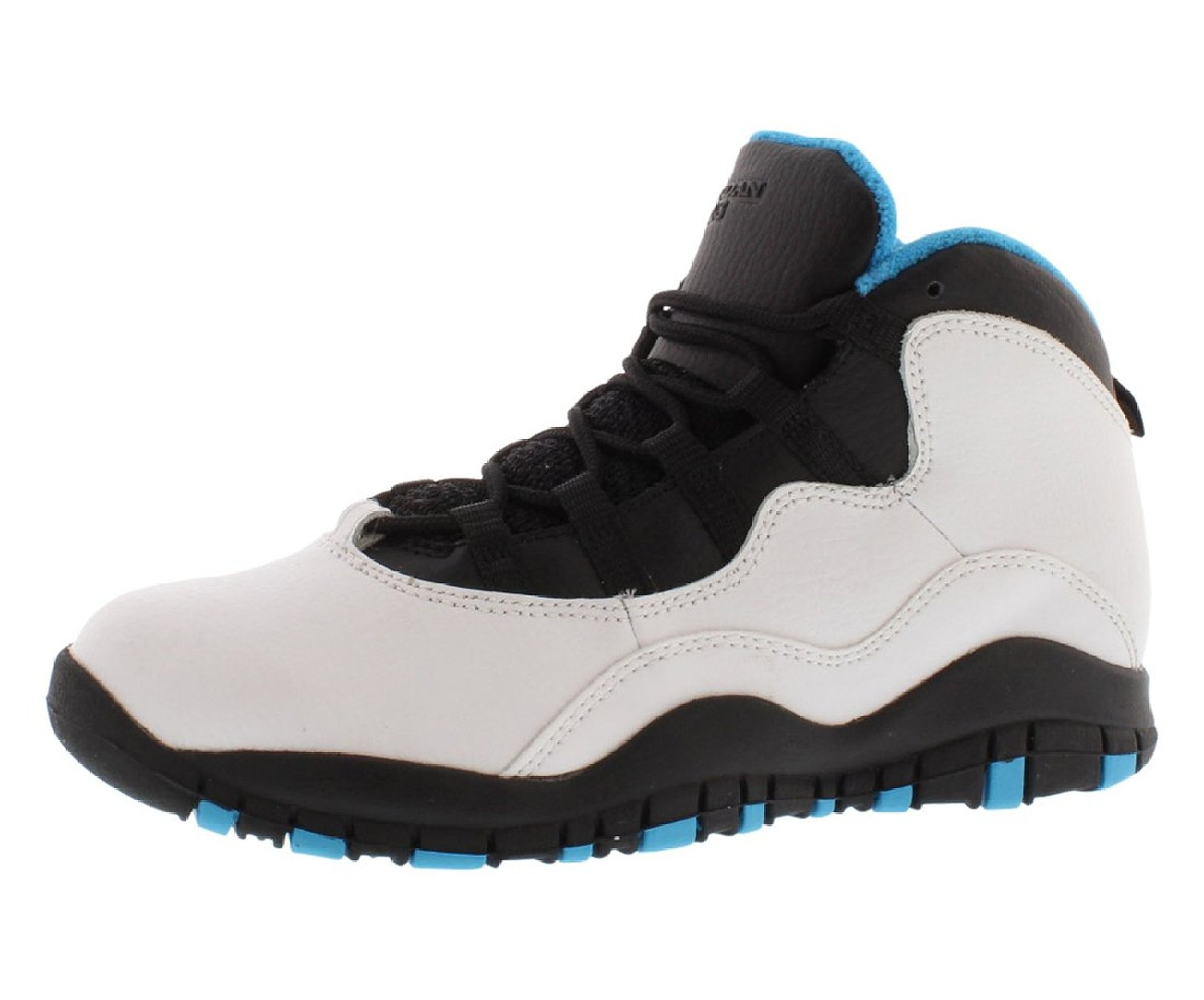 b3e54203cb8d Get Quotations · Jordan Pre School Retro 10 (Ps) White Dark Powder Blue- Black 310807