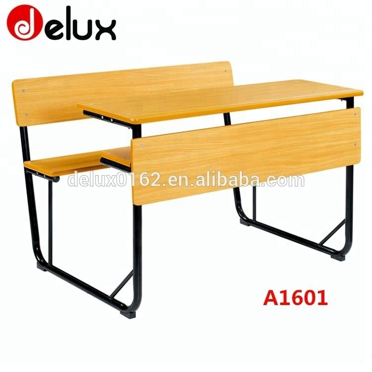 Two Seat School Desk With Drawer Attached Bench A1601 Buy Old