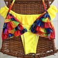 Multicolor 2016 Women Bikini Swimwear Bandage Swimsuit Bathing Suit Ruffled new style Bikini Set