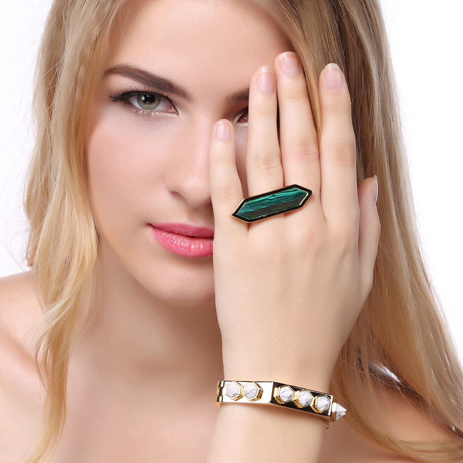 New Arrive Metal Women Jewelry Natural Gemstone Ring