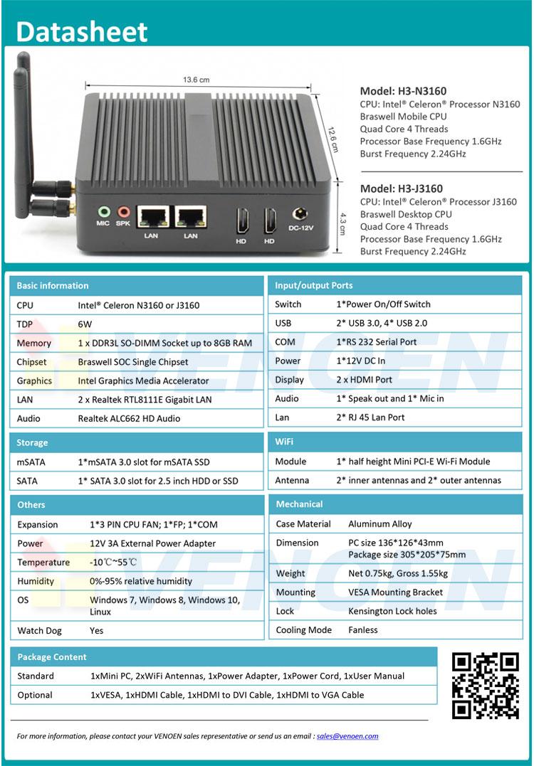 ราคาถูก 2HD LAN win10 3160 fanless มินิคอมพิวเตอร์อุตสาหกรรมคอมพิวเตอร์ตั้งโต๊ะ 12 โวลต์