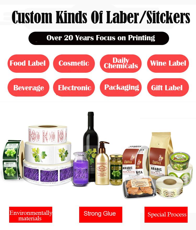 Wholesale Sticker Paper Label Printing Glossy Lamination Label Sticker