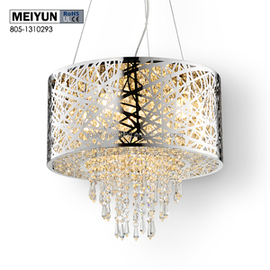 Bird nest design modern stainless steel crystal chandelier with crystal beaded drum shade chromed finish