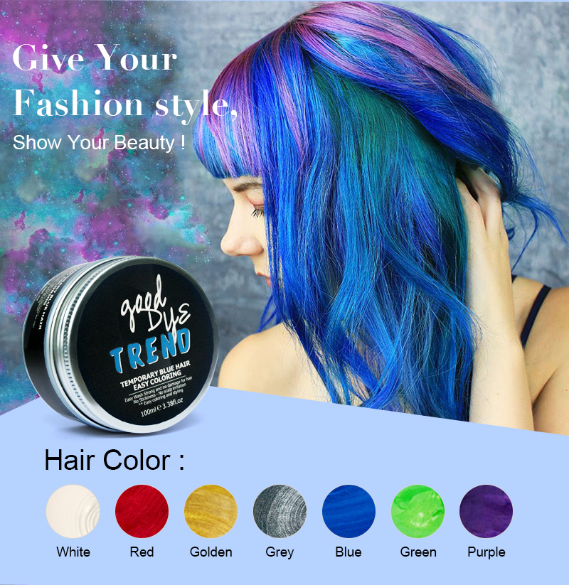 Hair Color Styling Wax Blue Color Matte Shiny Private Label Easy