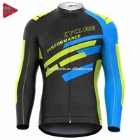 Cheap Custom Sublimation Men's Long Sleeve Cycling Jersey Bicycle Jersey Cycling Gear Clothing Manufacturer