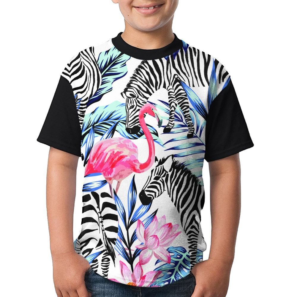 cecbfdde0 Get Quotations · Pink Flamingo And Zebra Youth's Novelty 3D Print  Undershirt Tees Crew Neck Comfortable Raglan Tees Tops