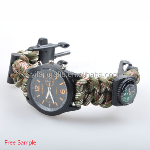 Hot 1pcs 550 PARACORD COSTOM SURVIVAL WATCH BRACELET WITH COMPASS FLINT