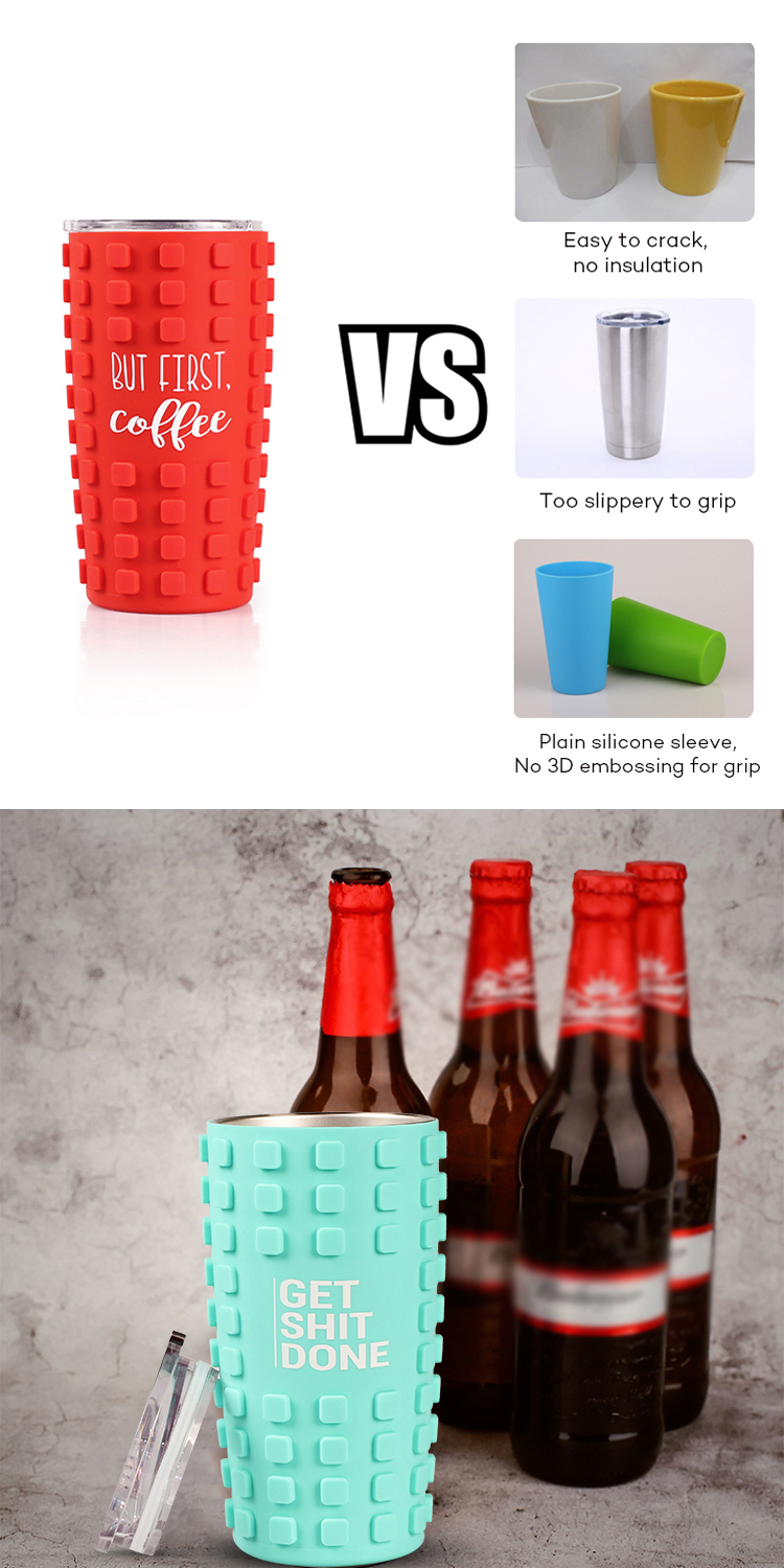 Factory Price 20 oz Vacuum Insulated Stainless Steel Tumbler with 3D Silicone food Grade Sleeve