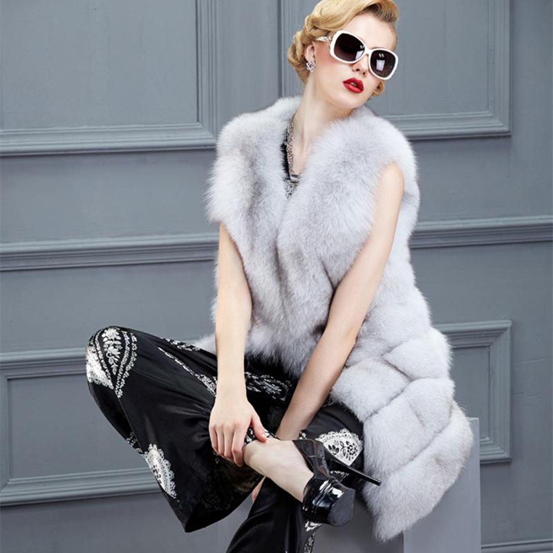 Осень зима мода женщин лисий мех жилет черный белый из искусственного шуба большой размер