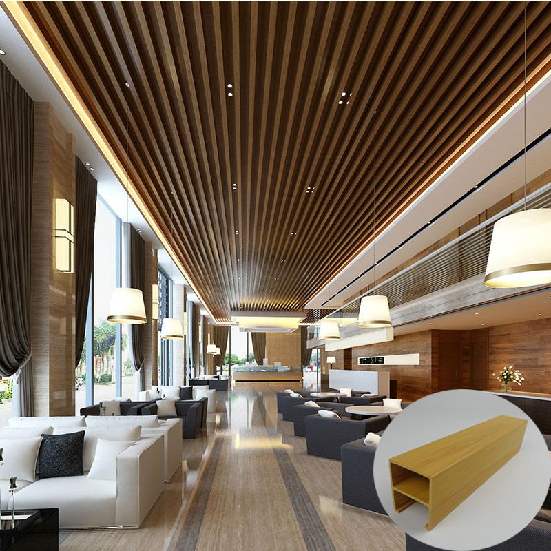Moderne Ontwerpen Hout Pvc Composiet Raster Plafond Voor Huis Interieur Decoratie