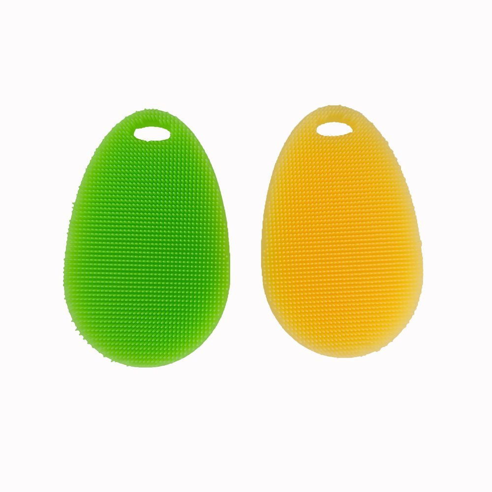 Honbay Washing Brush, Silicone Dish Scrubber, Multifunction Kitchen Wash Tool, Soft Brush Scrubber Cleaning Cleaner, Washing Brush / Fruit Washer / Vegetable Cleaner and Heat-resistant, Pack of 2