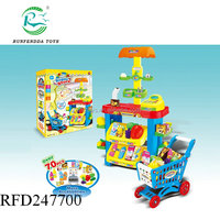 play at home kids plastic pretend supermarket toy set with shopping trolley
