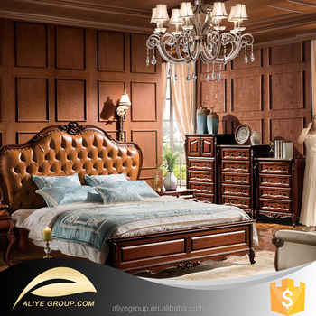 Ab40 Bedroom Furniture Of Country Style Solid Wood And Leather Bed