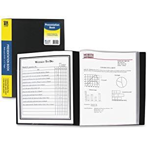 "C-line Bound Sheet Protector Presentation Book - Letter - 8.50"" Width x 11"" Length Sheet Size - 24 Sheet Capacity - 13 Pockets - Poly - Black - 1 Each"