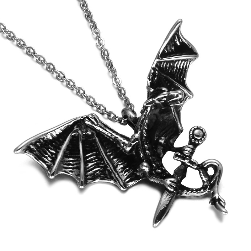 LP075 YWMT 2018 Wholesale Customized Hip Hop Stainless Stainless Dragon Sword Necklace Pendant