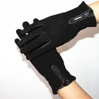 Custom fashion 100% leather ladies autumn and winter suede sheepskin gloves