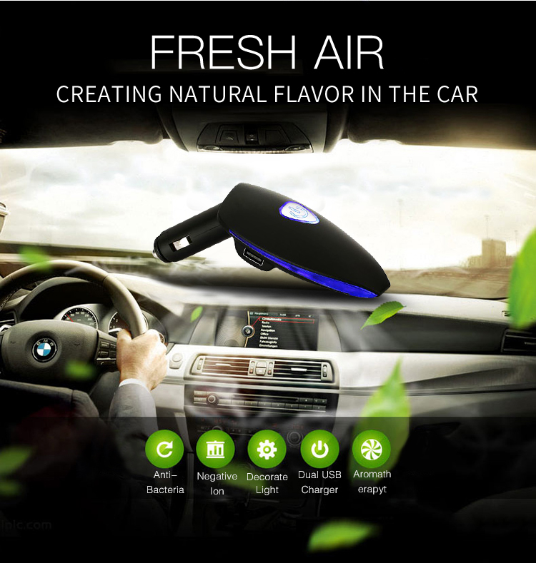 New Generation 3-in-1 Portable Dual USB Charger	Digital Display Ionizer Car Air Purifier