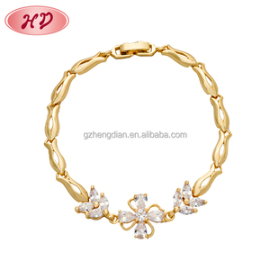 2018 Fashion Jewelry 18K Gold Plating European Lucky Zircon Charm Bangle Bracelet