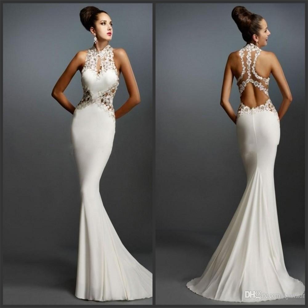 White Mermaid Prom Dresses Halter Sleeveless Applique