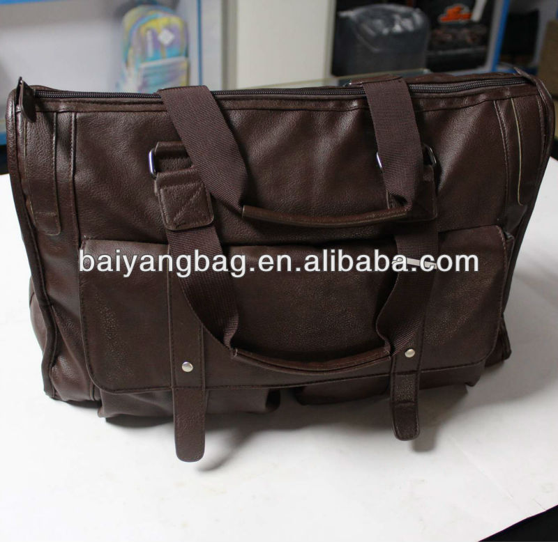 2013 Brown soft PU leather fashion travel bag