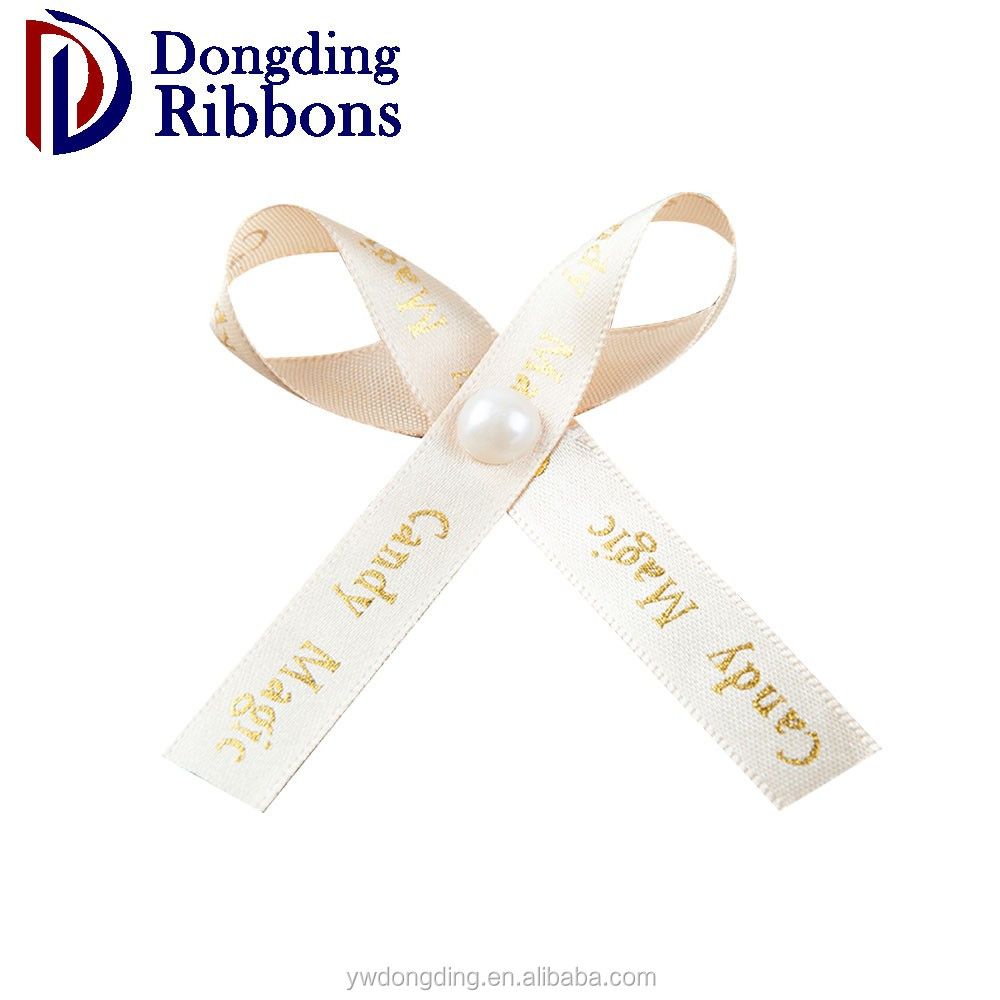 Wholesale pre-made gold foil printing satin ribbon bow for decoration