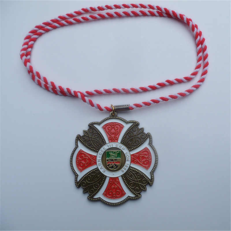 wholesale metal cross pendant with red and white cord