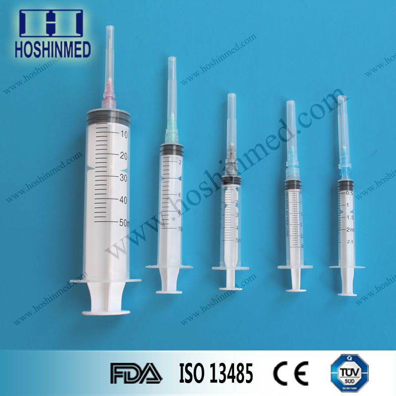 Sizes and types of medical hypodermic long disposable needles syringes