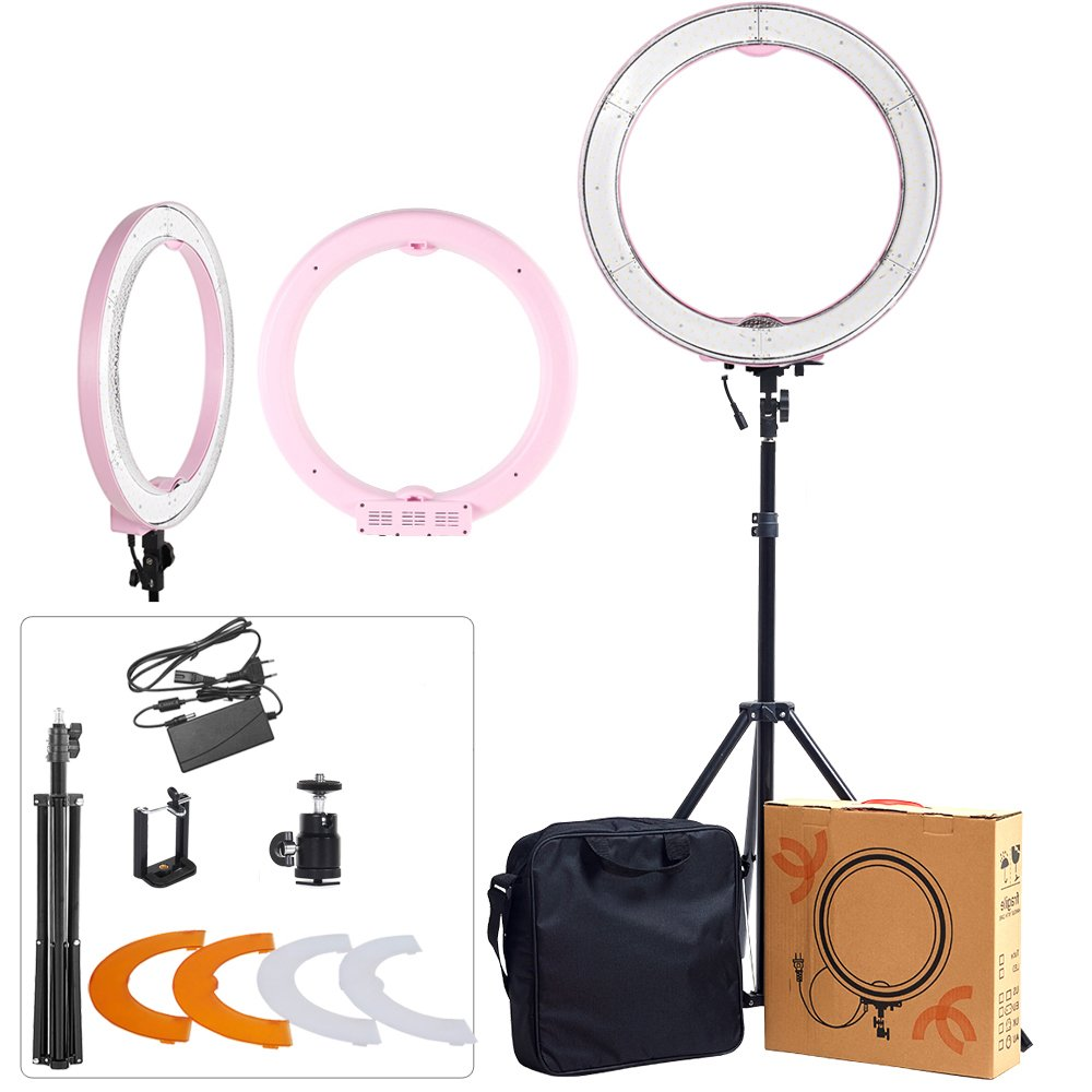 """ASHANKS Ring Light Kit 18"""" SMD Outer 55W 5500K 240 LED Dimmable Camera Photo Ring Video Lights+Plastic Color Filter Set+Light Stand for Smartphone, Youtube, Vine Self-Portrait Video Shooting(Pink)"""
