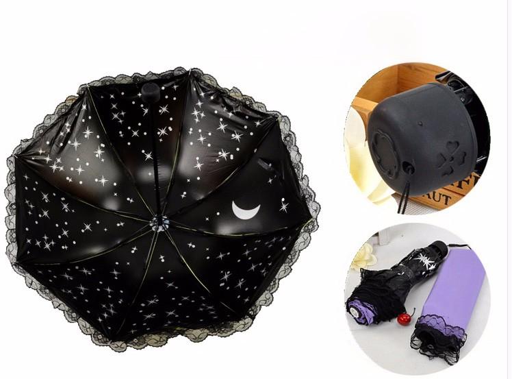 Women Beautiful Starry Sky Windproof Anti UV Sun Rain Princess Lace  Umbrella Folding Parasol Girls Gift - us349 e6d13a1bb10